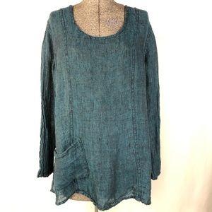 FLAX Bluegreen Linen Blouse